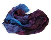 Hand Dyed Silk Scarf -  Blue, Purple, Damson, Turquoise