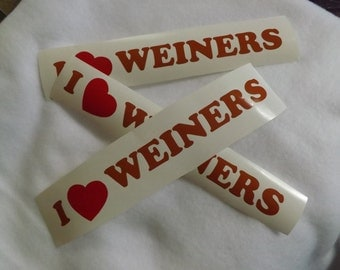 I Love Weiners vinyl decal