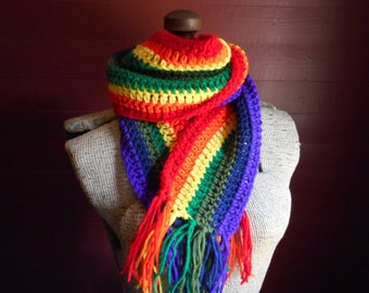 The Rainbow Scarf Hand Crocheted Crochet Handmade Adult or Child scarf neck wrap in magical rainbow colors One size fits all. Gay Pride LGTB