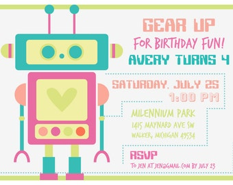 Heart Robot Birthday Invitation - Girl