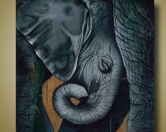 Baby Elephant and Mother Elephant - Elephant Hug - Endangered Animal - Baby Mine - Only 100 Signed
