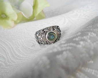 Vintage Filigree Ring with Carved Abalone Shell 925 Sterling Silver, Hallmarked ND