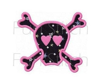 skull applique machine embroidery design