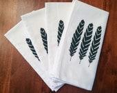 Linen Napkin Set of Four: Feathers