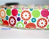 Floral Dog Collar, Summer Ribbon Dog Collar, Adjustable Dog Collar, Girl Dog Collar, Sale Collar