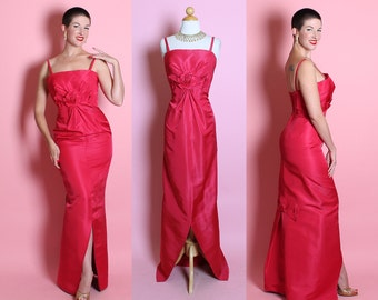 COUTURE Designer 1950's Vibrant Magenta Pure Silk Extreme Hourglass Evening Gown w/ 3D Rosettes & Back Train by HELENA BARBIERI Original - M