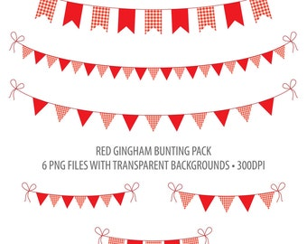 Red Bunting Clip Art Red Gingham Instant Download Printable Bunting Red Gingham Summer Picnic
