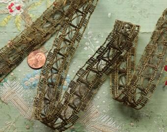 "Antique metal lace trim gorgeous pattern 1"" flapper ribbonwork metal gold trim soutache braid cording trim ribbon"