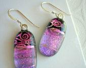 Purple Earrings Dichroic Earrings Purple Pink Swirl Oval Earrings Dichroic Fused Glass Jewelry Pink  Dangle Earrings Iridescent Earrings