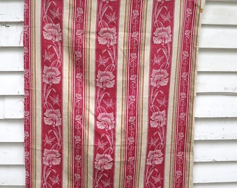 Antique Damask Ticking Textile / Butterflies and Flowers / French Ticking