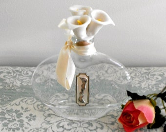 Vintage - Calla Lily Perfume Bottle, Cellini Collections by Studio Silversmiths - Flat OVal Shape Bottle with 3 Porcelain Calla Lilly top