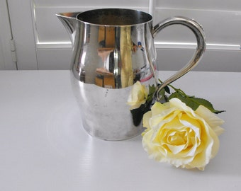 Vintage Silver Plate Paul Revere Water Pitcher with Ice Lip  by Wm. A Rodgers - Shabby Chic Cottage Silver Plate Pitcher -