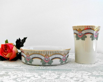 Vintage Porcelain Soap Dish and Water Glass by Saturday Night Ltd., Japan - Art Deco Bathroom Set  - Powder Room - Bobann23 Home