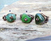 Beach Glass Jewelry - Sea Glass - Rings - Copper Wrapped Rings -  Lake Erie Beach Glass Jewelry