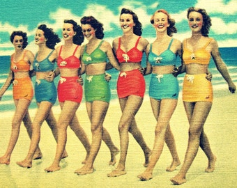 Colorful beach art, coastal decor beach artwork, beach art print, vintage beach art, coastal decor art, colorful beach house red aqua decor