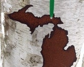 Handmade Michigan Christmas Ornaments - Rusted Steel Finish