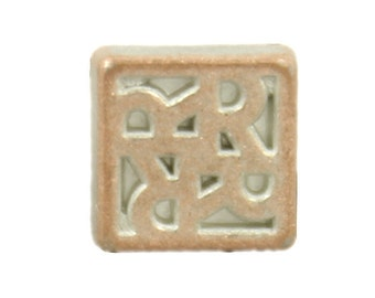 Metal Buttons - Square Flower Motif Copper White Metal Shank Buttons - 0.24 inch - 10 pcs