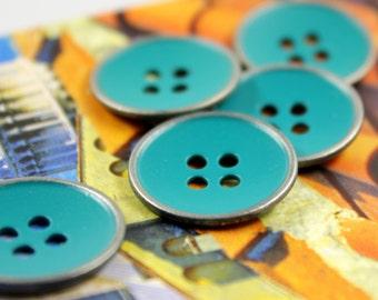 Metal Buttons - Cyan Green Gunmetal Metal Hole Buttons - 0.91 inch - 10 pcs