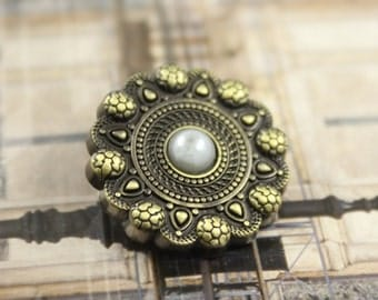 Metal Buttons - Snakeskin Style Flower Brass Metal Shank Buttons, With Pearl on Top - 1 inch - 6 pcs