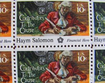 OG Baller Full Sheet of 50 Vintage UNUsed US Postage Stamps 10c 1975 American Bicentennial Haym Salomon Colonial Financial Hero Old Money