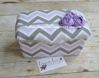 Lavender Purple and Gray Chevron with Rolled Flowers Nursery Baby Wipe Case, Baby Shower Gift, Wipe Holder, Large Wipe Tub, Diaper Wipe Case