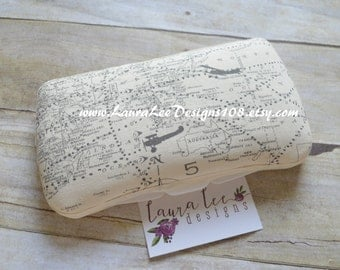 Antique Airplane Map in Neutral Travel Baby Wipe Case, Personalized Wipecase, Air Plane Map Case, Vintage Planes Case, Baby Shower Gift