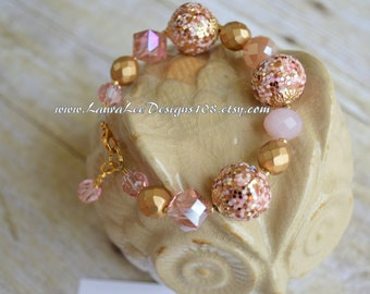 Light Pink and Gold and Gold Crystal Bracelet READY TO SHIP by LauraLeeDesigns108