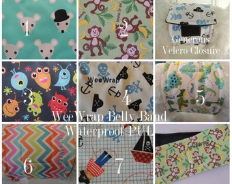 Waterproof PUL Dog Diaper, Belly Band, Stop Marking, WeeWrap,  Personalized