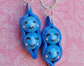 Two Peas in a Pod Bff Necklaces- Blue Lover's Set/Polymer Clay/Handmade/Besties/Best Friend Charms/Teens