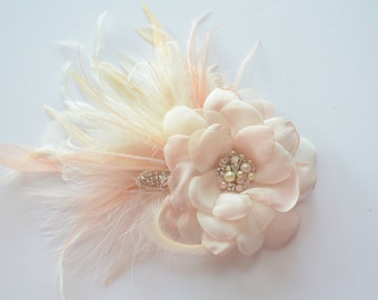 Blush and Champagne Bridal Hair Flower, Bridal flower clip, Blush feathers, Vintage, Pearls, rhinestones,crystals,Flower girl
