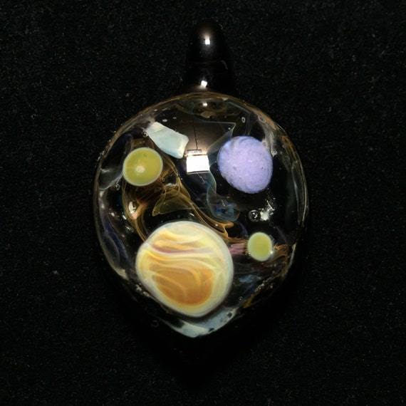 Planets in Space Pendant Glass Pendant Galaxy Pendant Boro