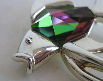 Vintage Sarah Coventry Designer Tropicana Silver Tone Angel Fish Watermelon Stone Brooch Pin