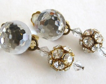 Vintage 80s Neiman Marcus Designer Faceted Glass Rhinestone Clip Earrings