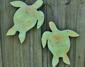 Rustic Wooden Sea Turtles, Beach House Decor, Nautical Wall Hanging