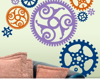 Steampunk Decor, Steampunk Wall Decor, Victorian Steampunk Gears Wall Pattern Decals, Varying Sizes of Gears in 3 Colors