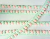 Mint Green Peach Pink Mini Pom Pom Mix Colors Bobble Ball Fringe Lace Trim Ruffle Ribbon Sewing Tape 6 Yards