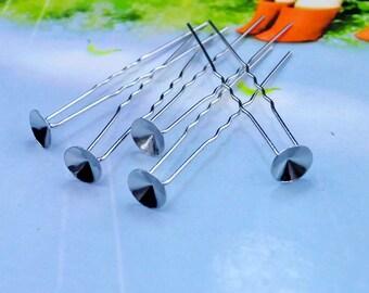 Silver hair clip with tray - hair pin pad - hair accessories 63mm x 6mm
