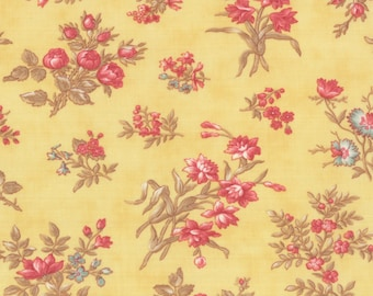 Printemps Buttercup Yellow Floral 3 Sisters  Moda Quilt Fabric by the 1/2 yd