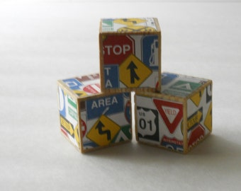 3 Wood Blocks/ Nursery Room Decor/ Boy Baby Shower Decoration/ Baby Shower Gift/ Party/ Toddler / Educational Toy/ Developmental/ ROAD SIGNS