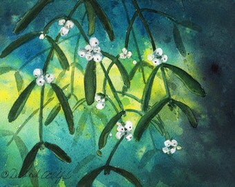 Oklahoma Mistletoe, Watercolor Original, State Flower, Green, White