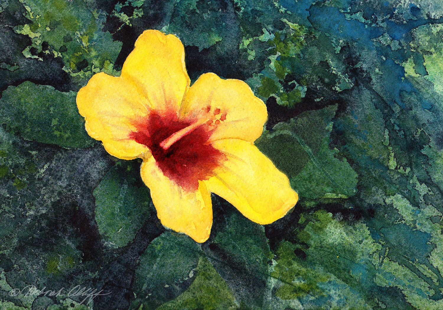 Hawaii Hibiscus Watercolor Original State Flower Yellow