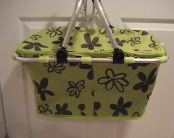 Insulated Lime Green with Black flowers Collapsible Market Tote Personalized Free Great for the Beach, Pool Parties