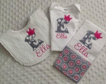 Baby Girl Personalized 3 Piece Gift Set  - Bib, Bodysuit, Burp Cloth- Pink Gray Princess Theme