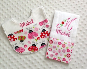 Baby Girl Personalized 2 Piece Gift Set  - Bib and Burp Cloth- Whimsical Ladybug and Vintage Florals