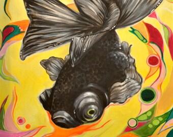 Black Moor Goldfish Painting 16x20 inches Animal Art Original Art Decorative Art by Amanda Christine Shelton