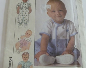 UNCUT Simplicity 9132 Babies Romper Sewing Pattern (sized for stretch knits only) Sized 18 Months  Vintage 1980s