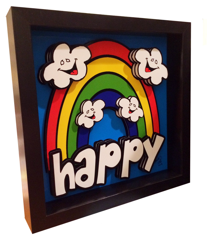 happy rainbow fun 3d pop art hanging clouds artwork print. Black Bedroom Furniture Sets. Home Design Ideas