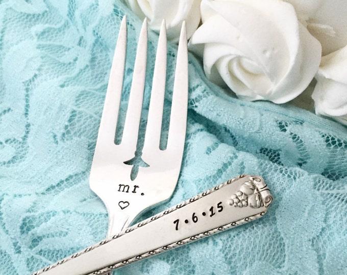 """Mr. & Mrs. vintage salad cake forks Rogers """"bordeaux"""" hand stamped"""