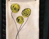 Flour Sack Tea Towel, Dish Towel with Yellow Flowers