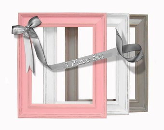 Baby Girl Nursery Picture Frame Set Pink and Gray 8x10 Picture Frames Wall Decor Shabby Chic Decor